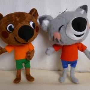 Мишка и его подружка Кошка Игрушки по рисункам Игрушки на заказ по фото, рисункам. Шьем от 1 шт.
